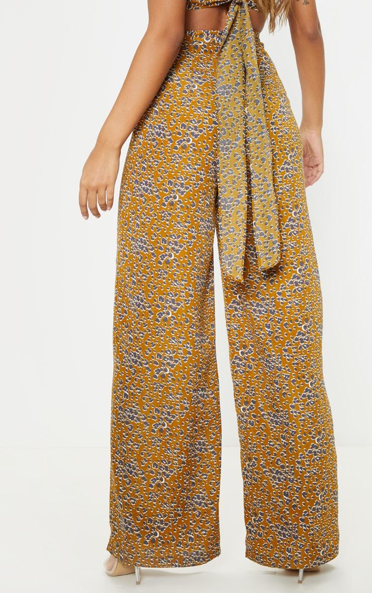 Mustard Leopard Print Wide Leg Pants 4