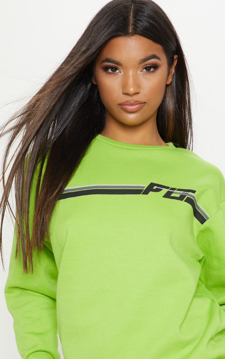 PRETTYLITTLETHING Neon Lime Printed Multi Stripe Sweater 5
