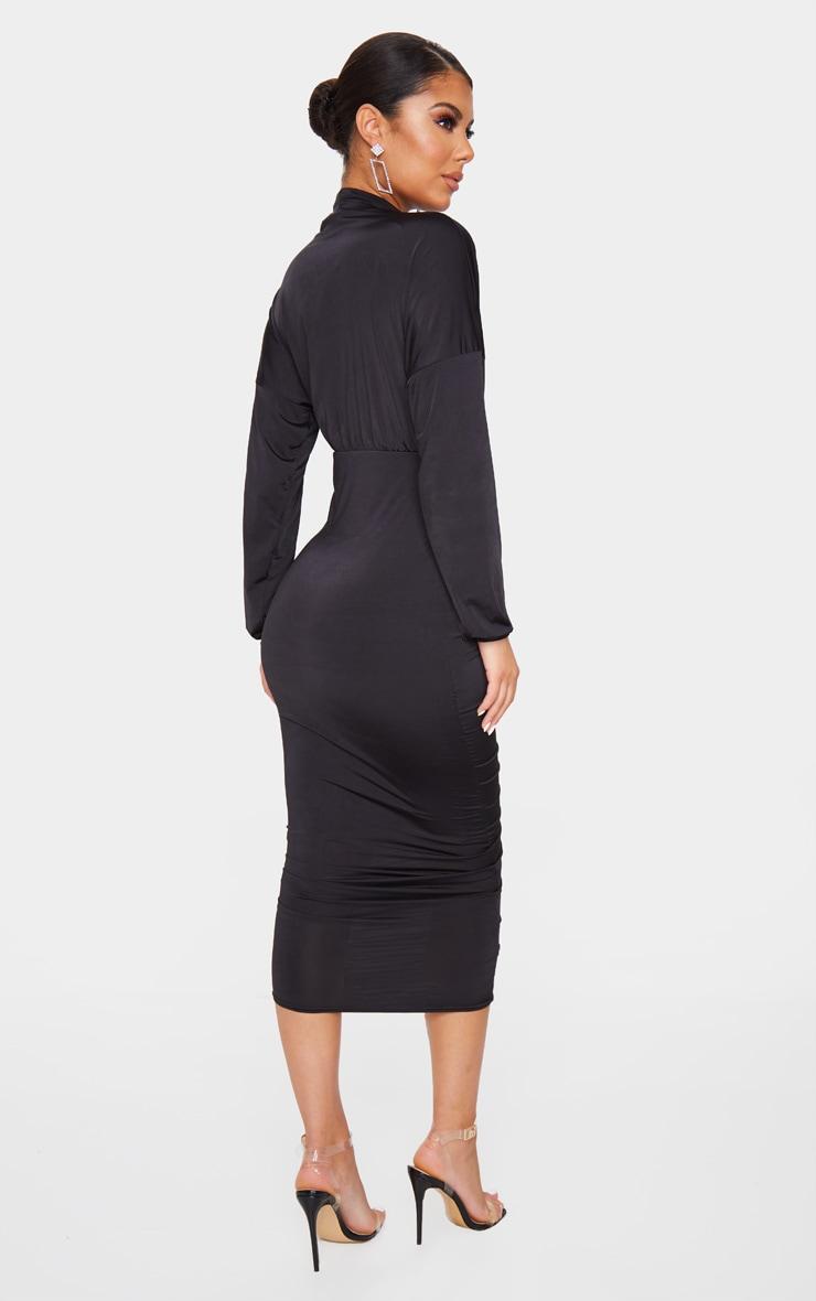 Black Slinky High Neck Long Sleeve Ruched Midi Dress 2
