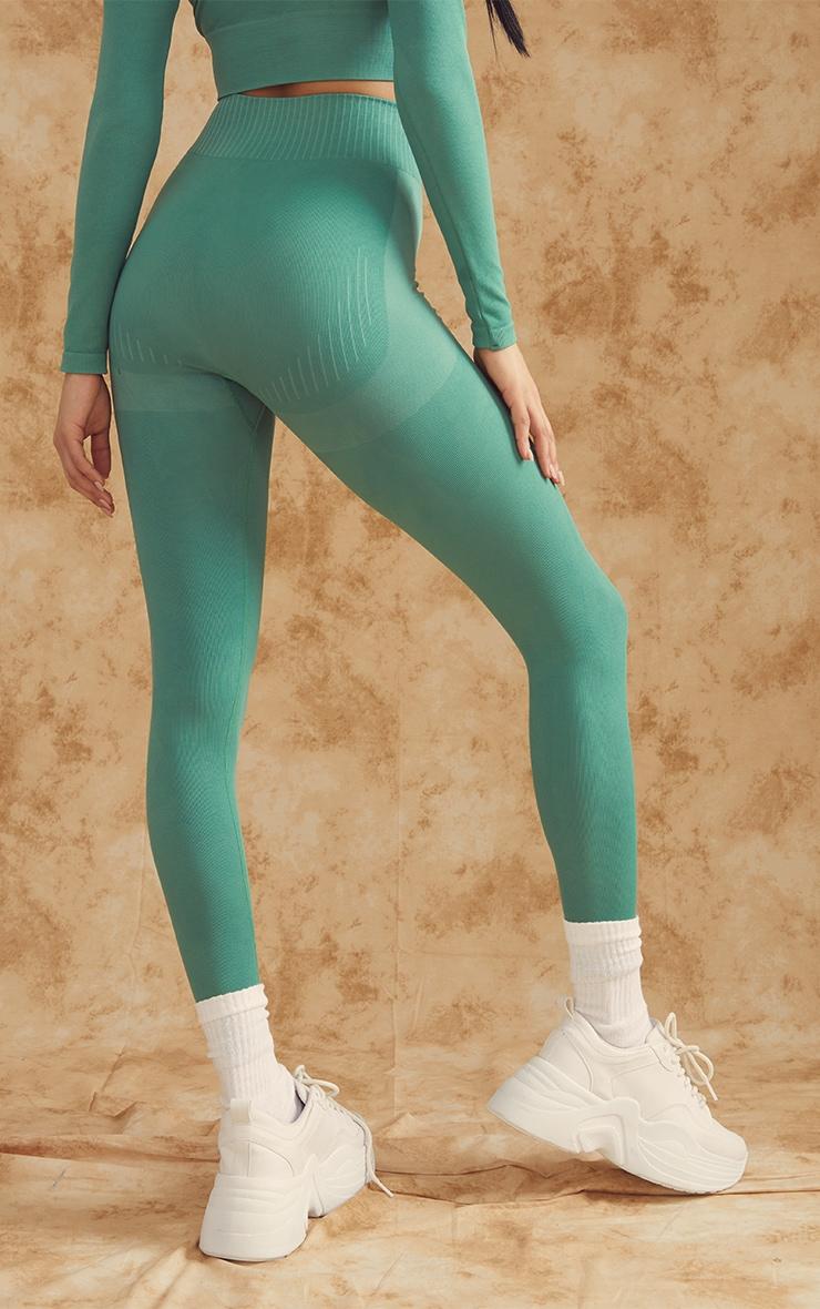PRETTYLITTLETHING Green Contour Seamless Gym Leggings 2