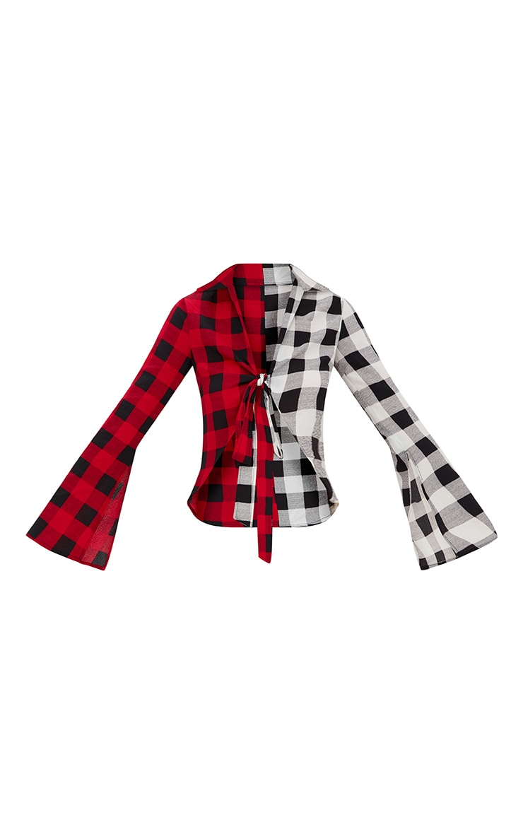 Red Spliced Check Tie Shirt 3