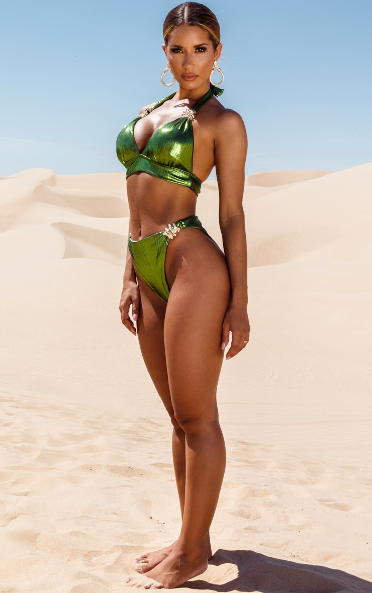 Green Metallic Snake Trim Bikini Top