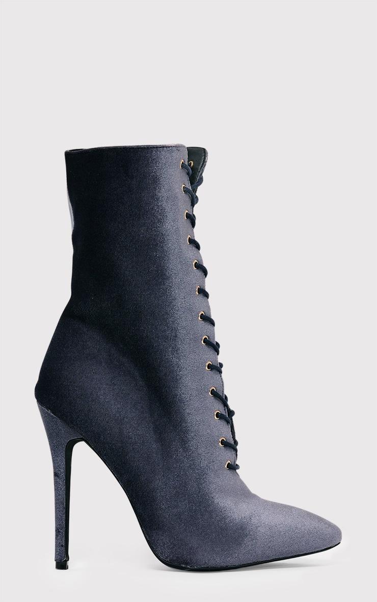 Savia Grey Velvet Lace Up Heeled Boots 1