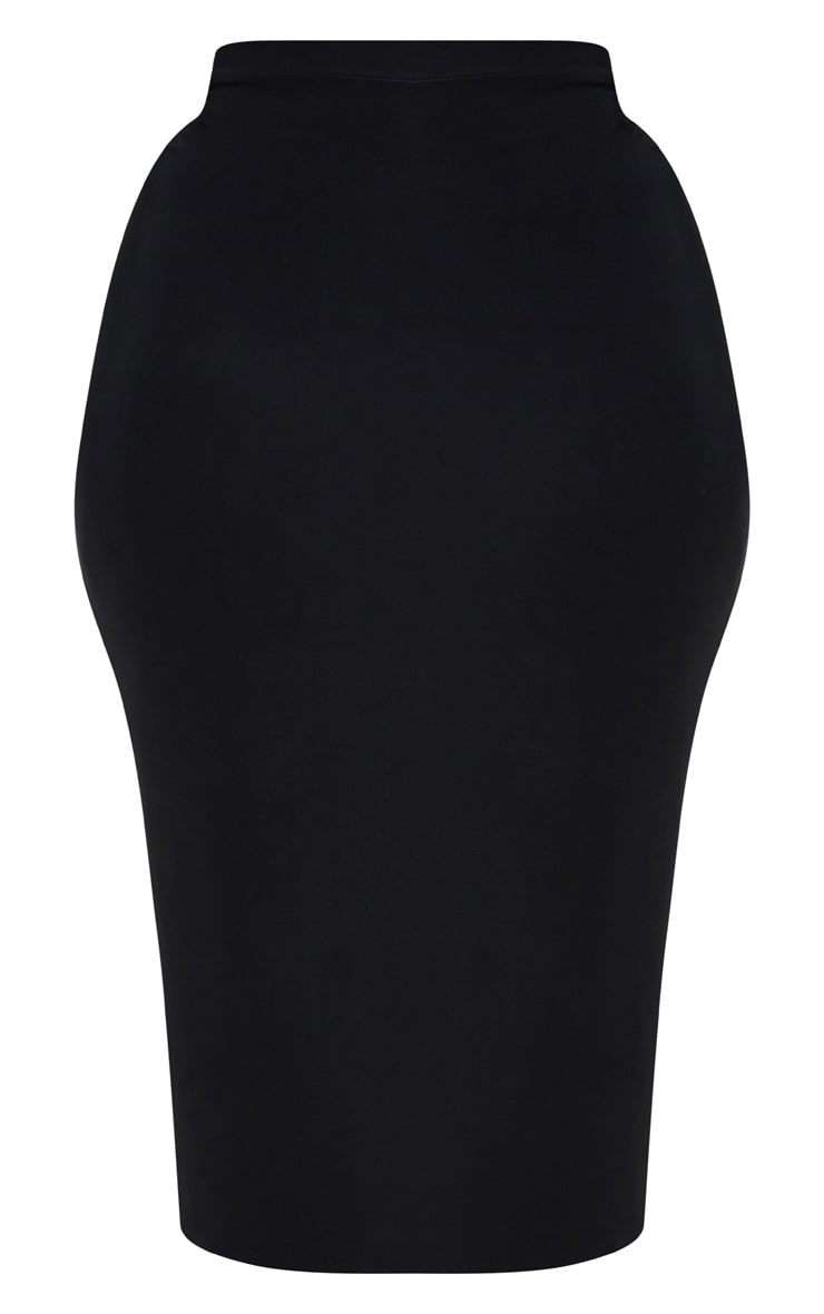 Plus Black Slinky Midi Skirt 3