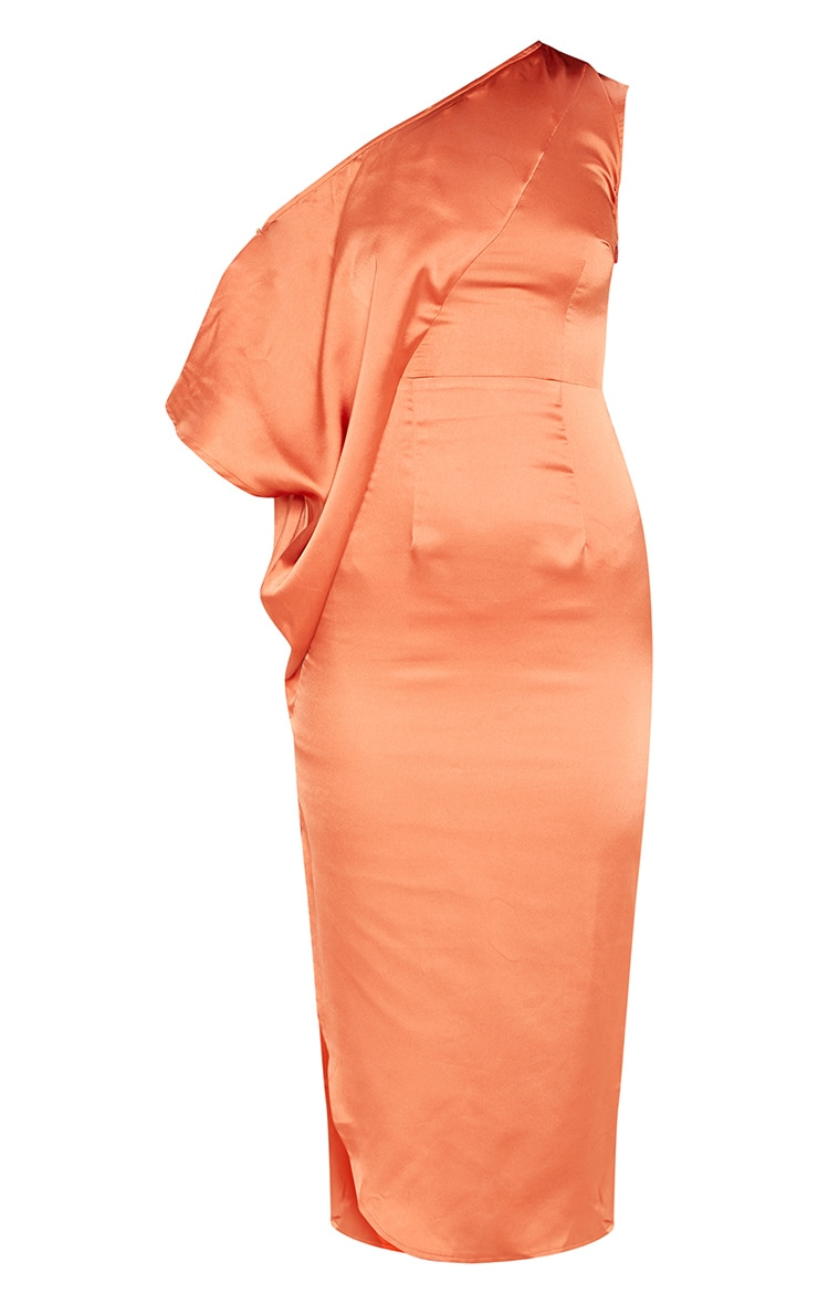 Rust Satin One Shoulder Cape Sleeve Midi Dress 3