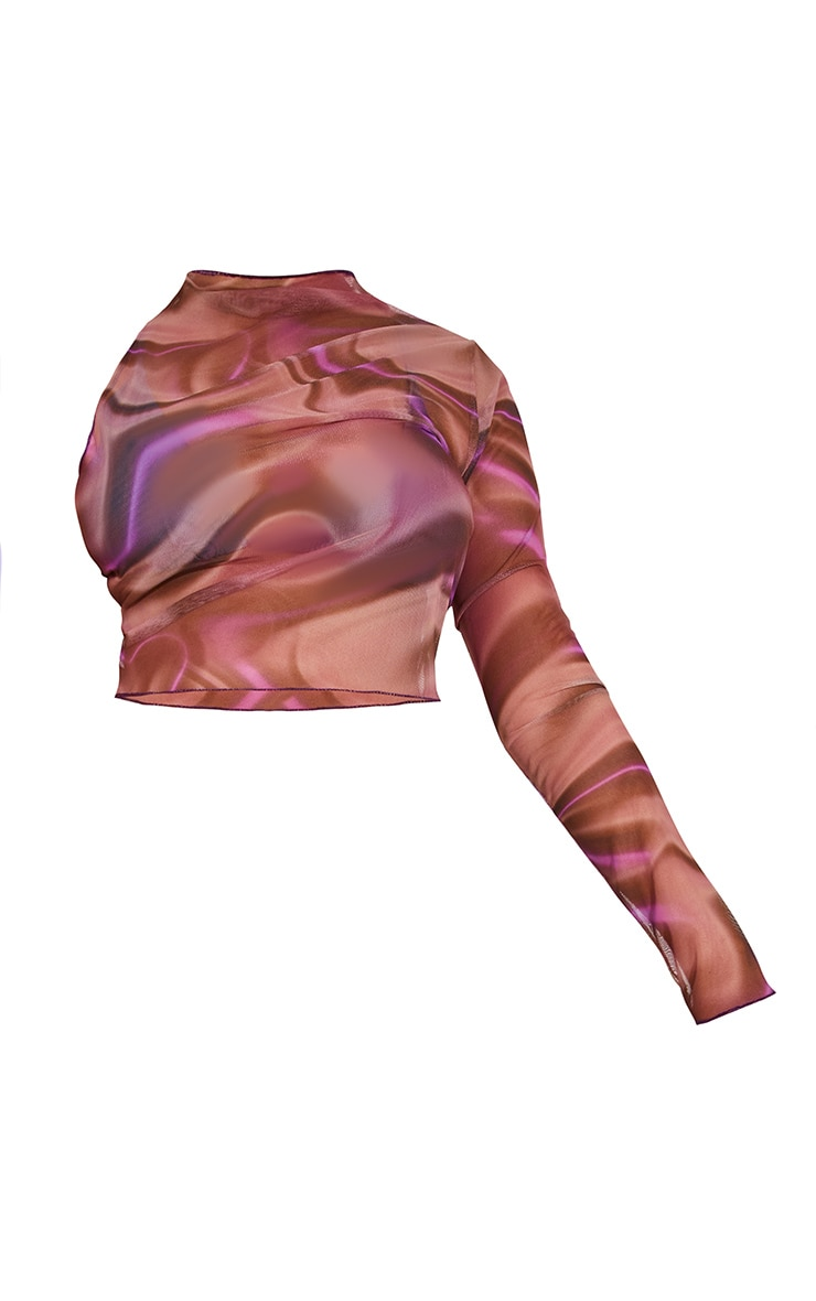 Plus Lilac Printed Mesh Asymmetric Crop Top 5