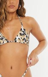 White Animal Triangle Bikini Top 4