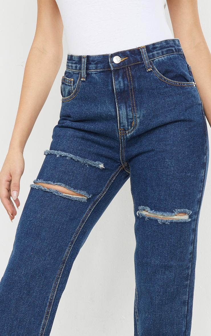 Dark Vintage Wash Thigh Slit Long Leg Jeans 4