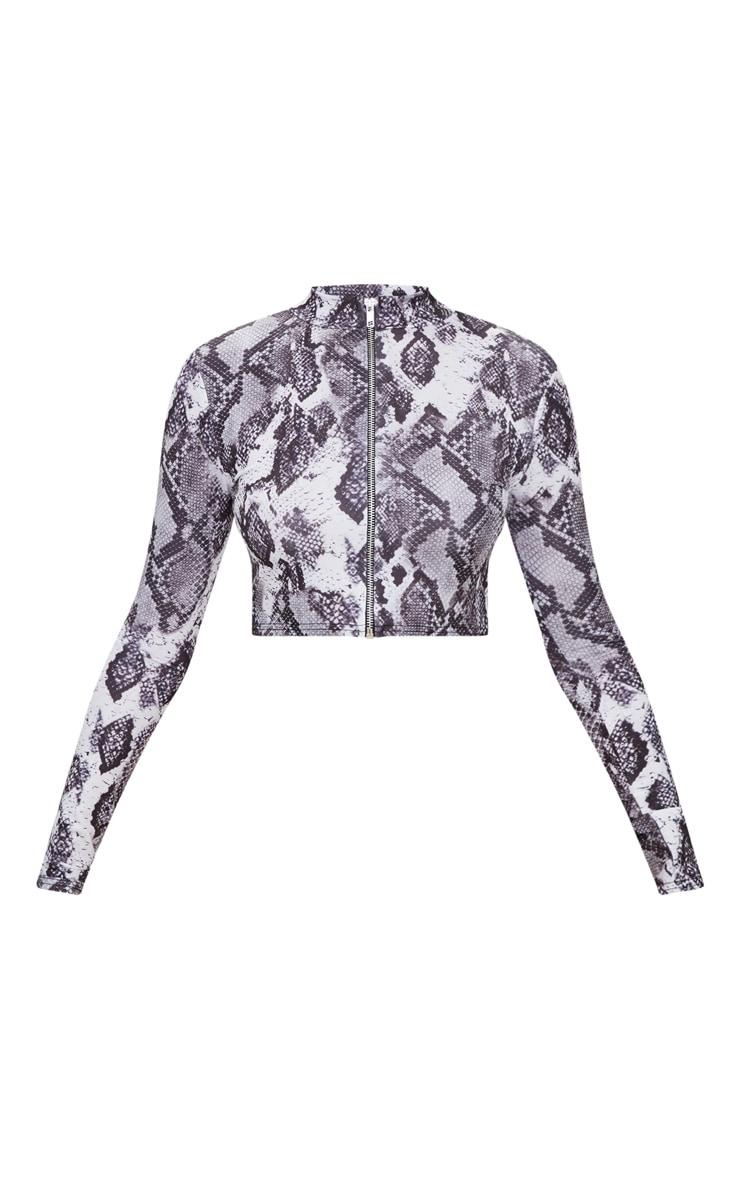 Grey Snake Long Sleeved Zip Up Bikini Top 3