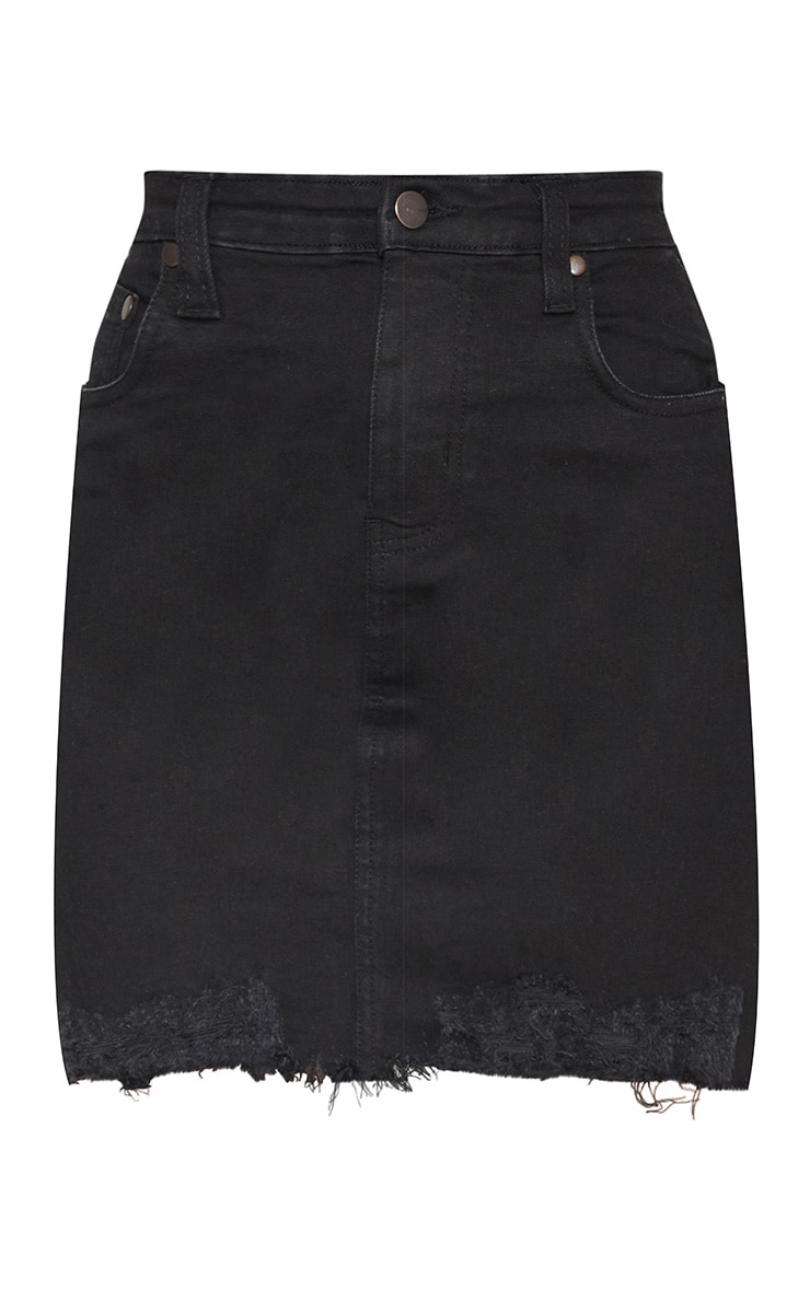 Petite Black Distressed Hem Denim Skirt 3