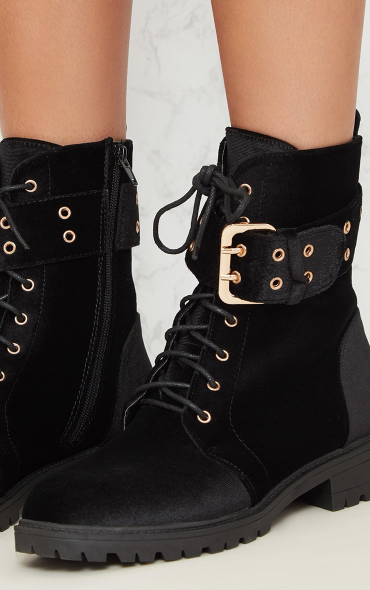 Black Buckle Side Biker Boot 6