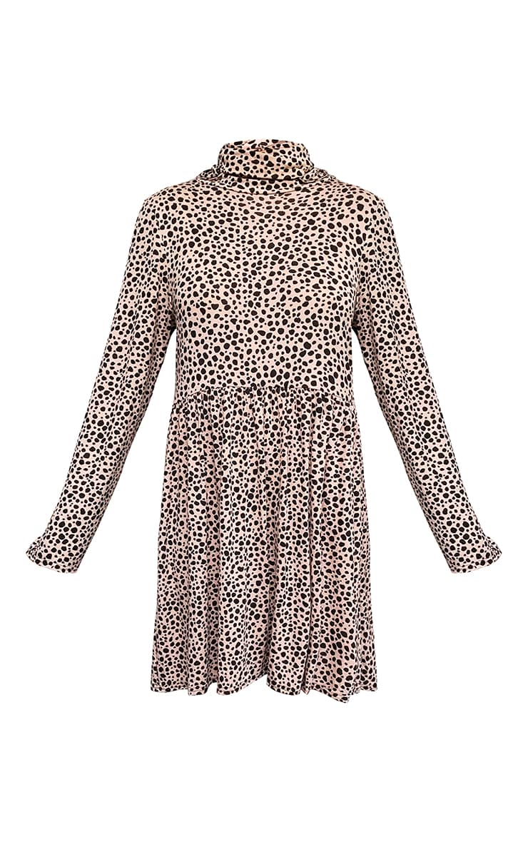 Blush Dalmatian Print Mask Smock Dress 5
