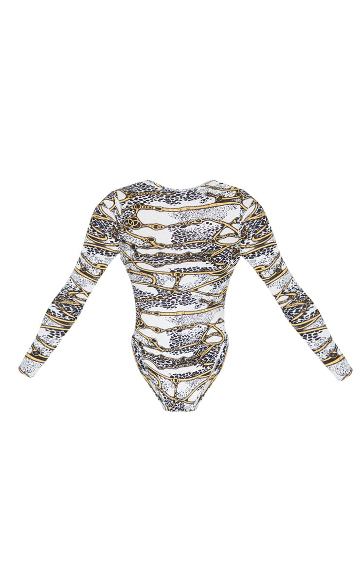 White Chain Printed Wrap Long Sleeve Bodysuit 6
