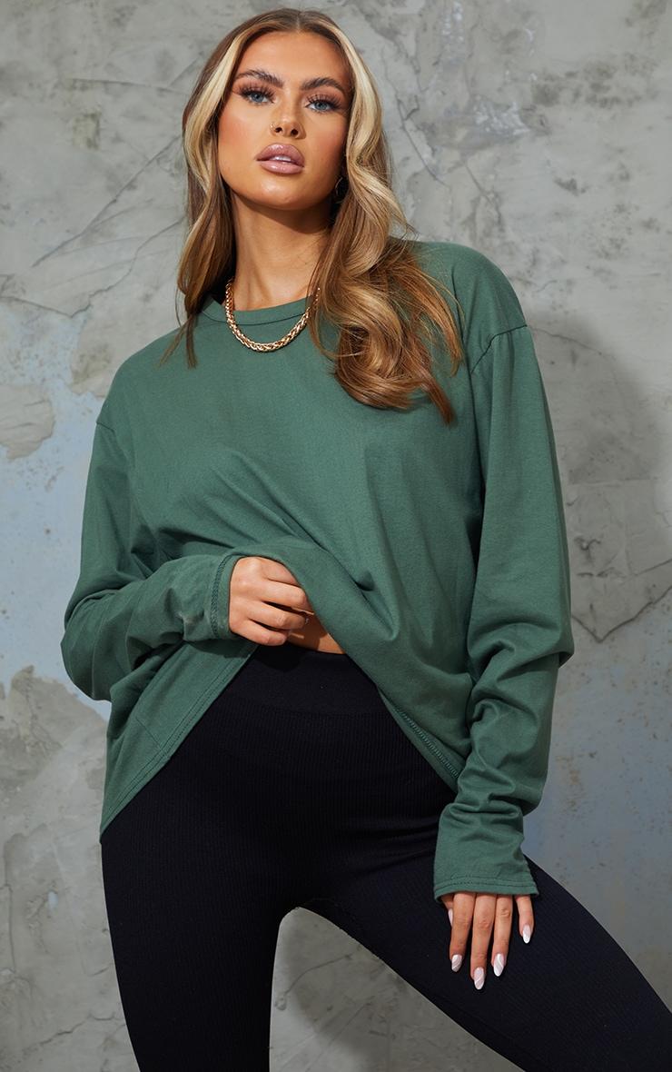 Forest Green Oversized Long Sleeve Boyfriend T Shirt