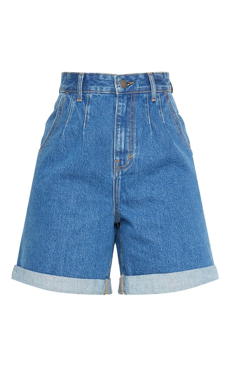 Tall Mid Blue Turn Up Hem Mom Shorts 6