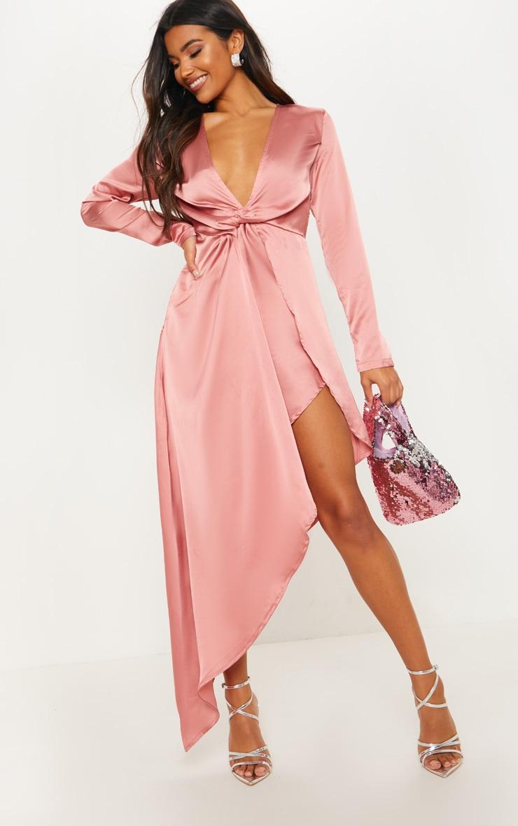 Rose Asymmetric Hem Long Sleeve Plunge Satin Maxi Dress