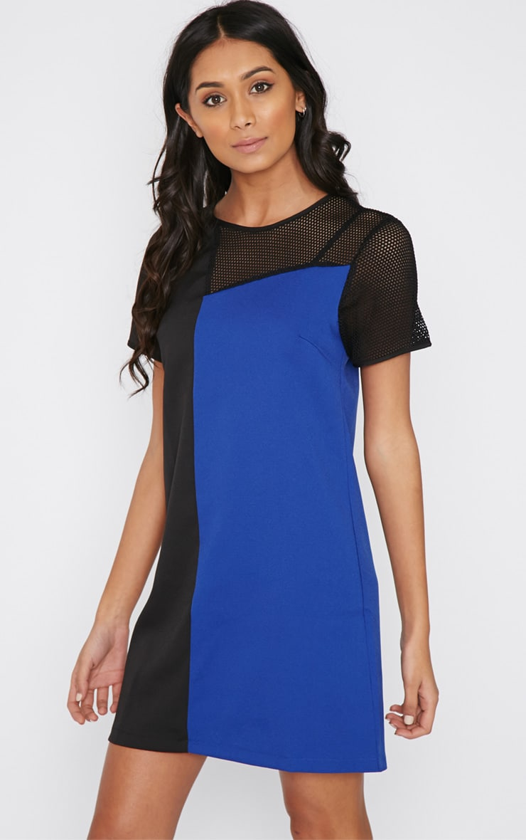 Jolanda Cobalt Airtex Panel Shift Dress 1