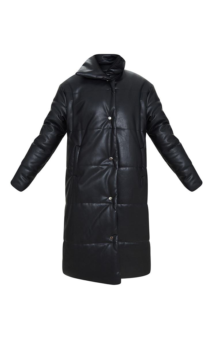 Black Faux Leather Padded Panel Maxi Puffer 5