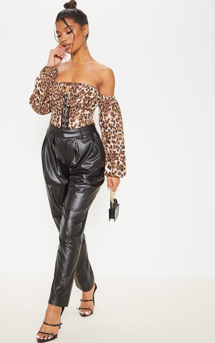 Tan Glitter Leopard Printed Hook & Eye Bardot Long Sleeve Bodysuit 5