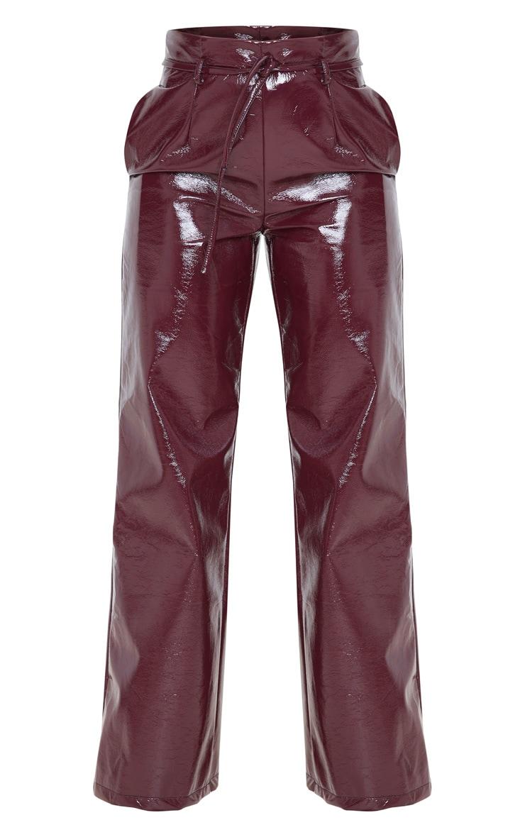 Burgundy Cracked Faux Leather Pocket Detail Wide Leg Pants 3