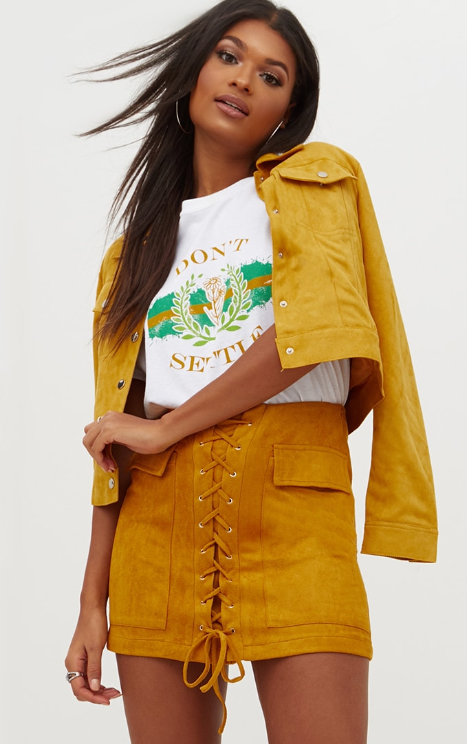 Mustard Faux Suede Lace Up Mini Skirt