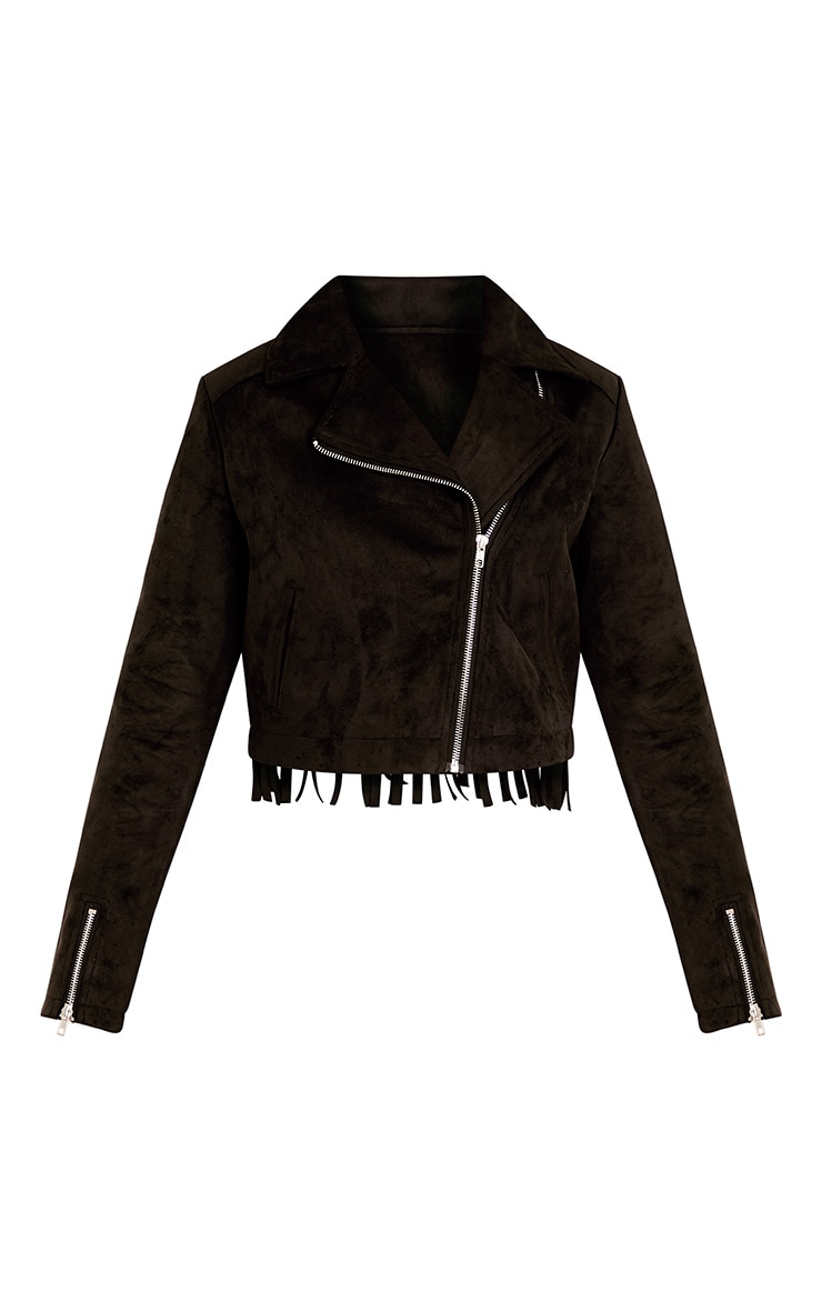 Shilla Black Faux Suede Embroidered Detail Biker 3