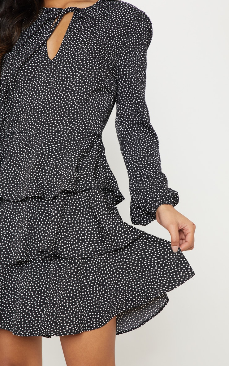 Black Polka Dot Layered Frill Tie Neck Smock Dress 5