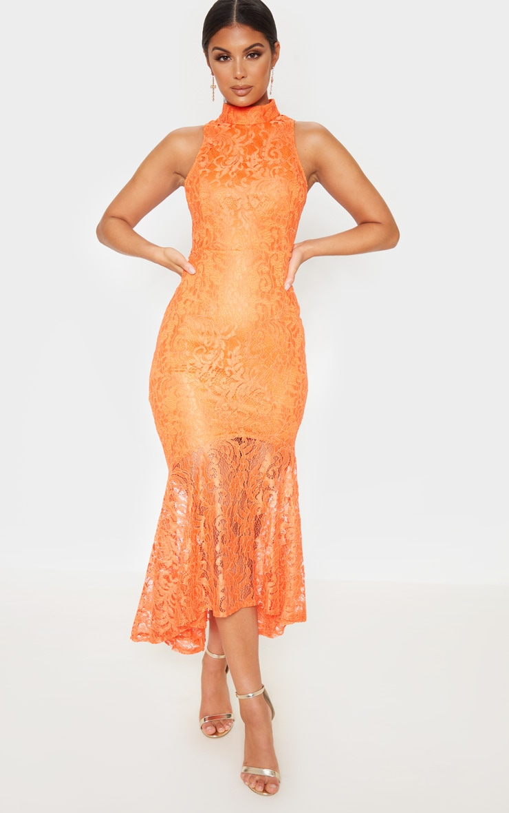 Bright Orange Lace High Neck Fishtail Midaxi Dress 1