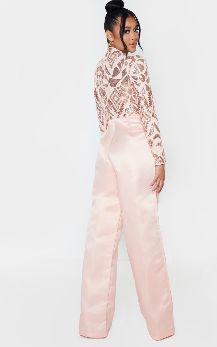 Rose Gold Sequin Bodice Long Sleeve Satin Jumpsuit 2
