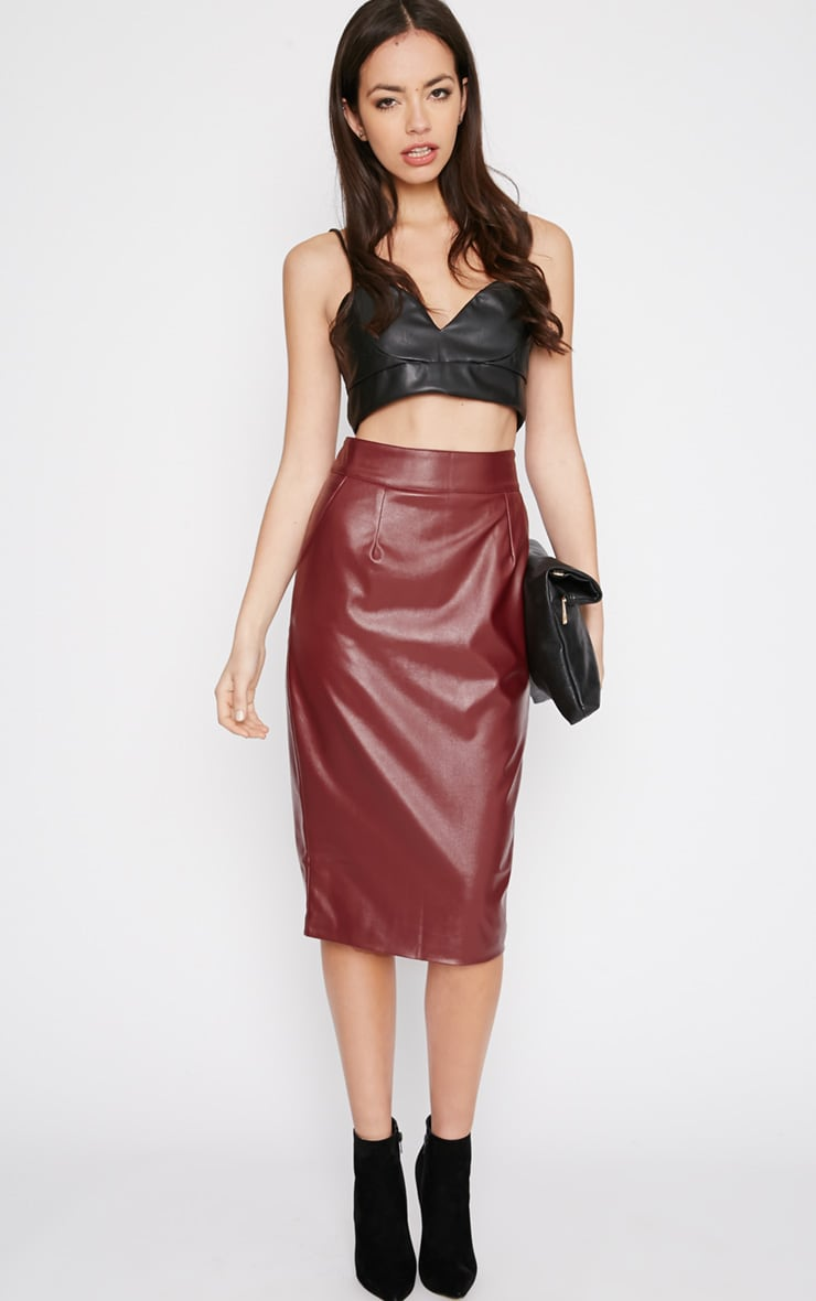 Imogen Burgundy Leather Midi Skirt 1