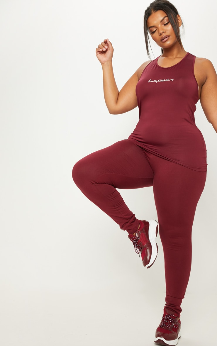 PRETTYLITTLETHING Plus Burgundy Embroidered Vest Top 4