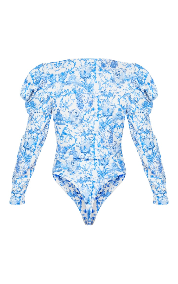 Blue Ornate Floral Crepe Puff Sleeve Deep Plunge Bodysuit 4