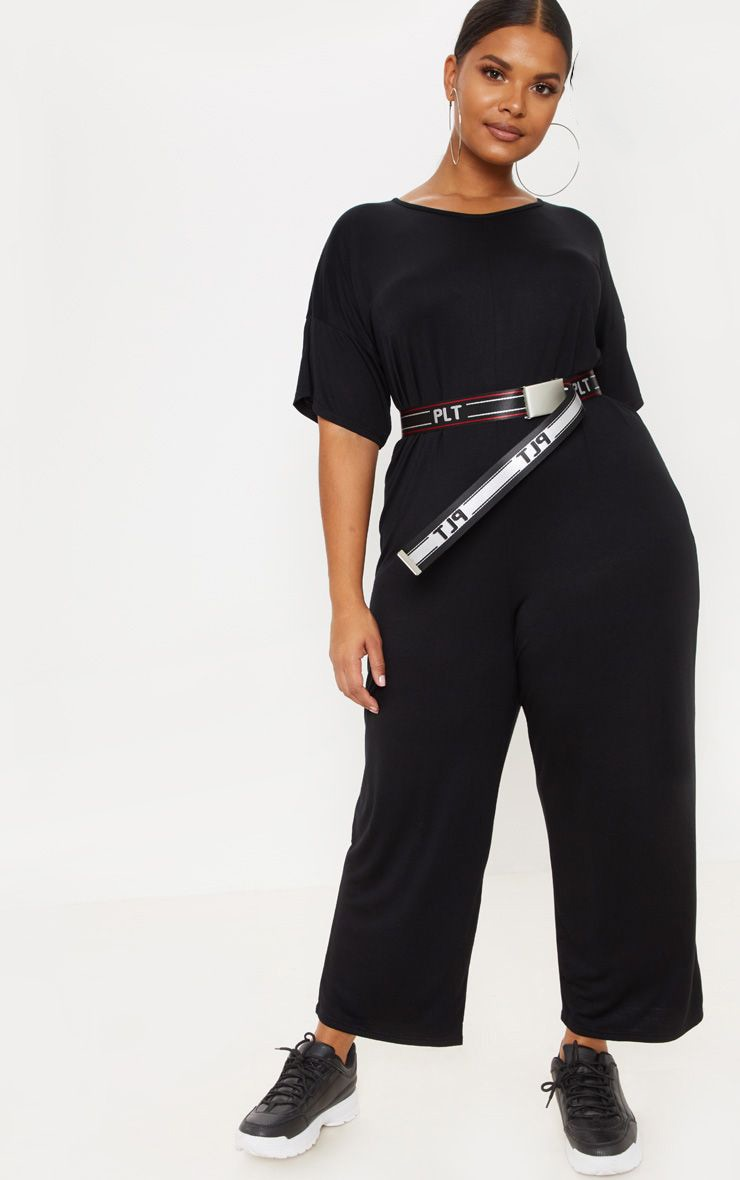 Plus Black Oversized T Shirt Culotte Jumpsuit 1