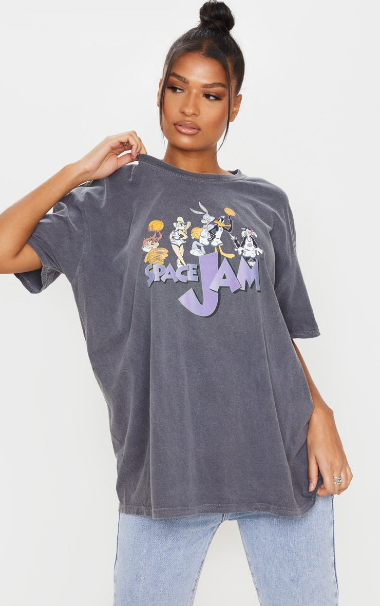 Grey Space Jam Washed T Shirt 1