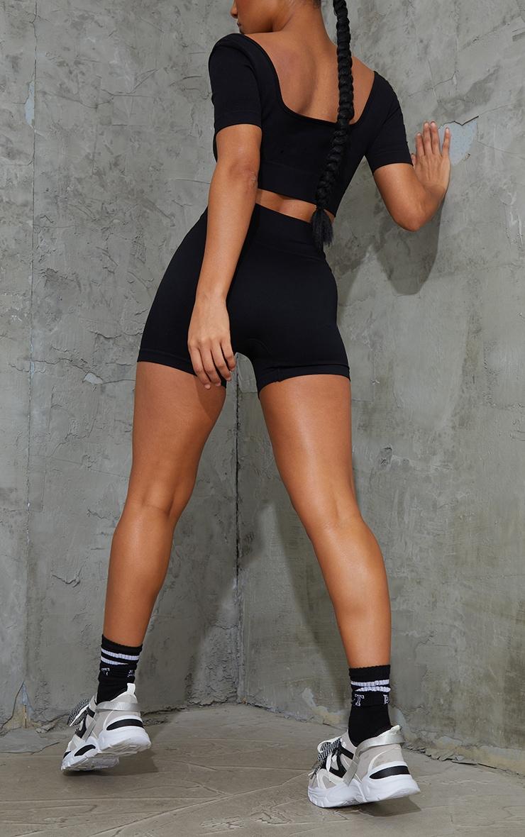 Black Basic Seamless Booty Shorts 3