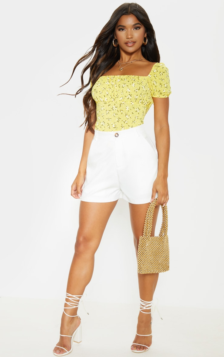Yellow Floral Printed Short Sleeve Top 4