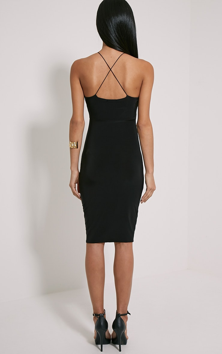 Mirabella robe midi noire près du corps bretelles croisées au dos 2