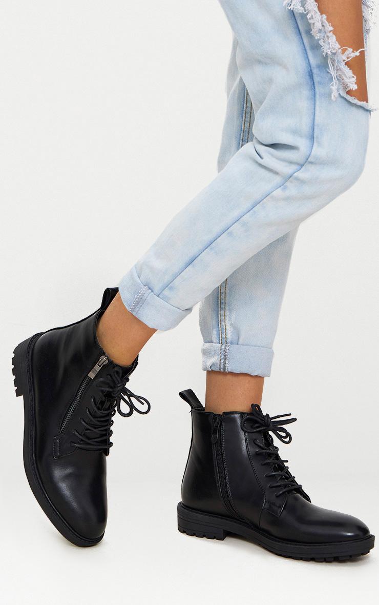 Black Side Zip Hiker Boot 1