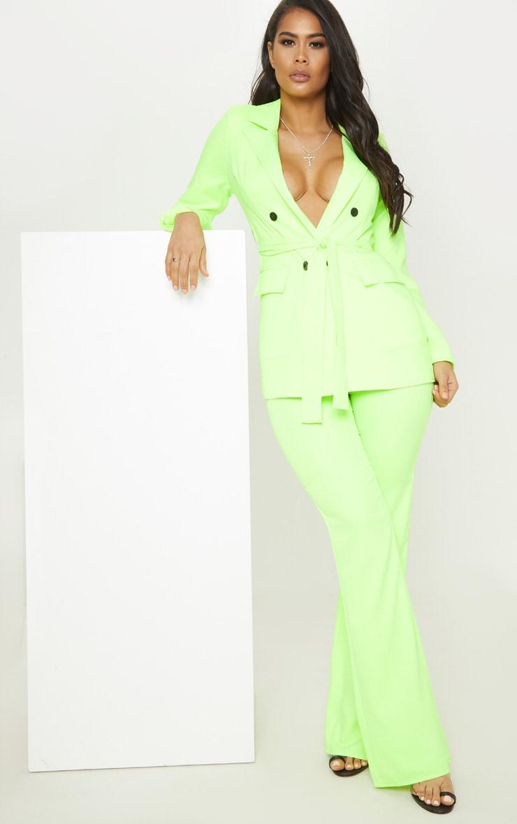 Neon Lime Belted Longline Woven Blazer  4