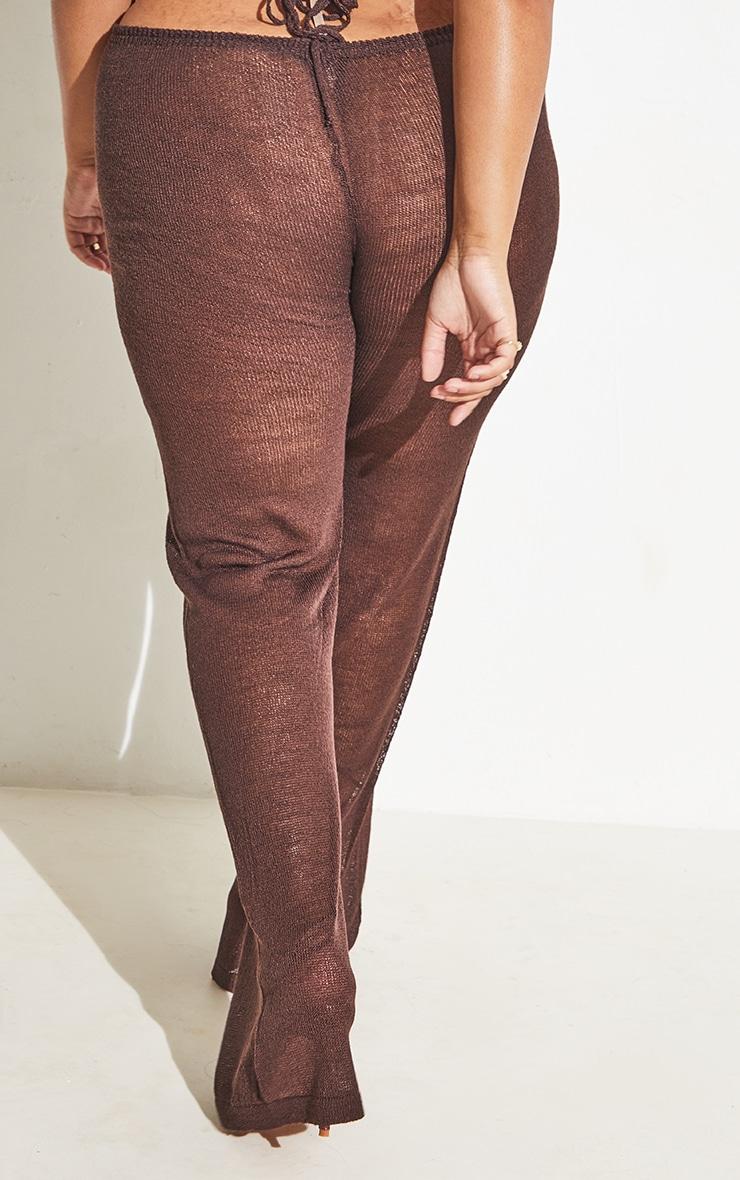 Plus Chocolate Tie Waist Detail Sheer Knit Flare Pants 6