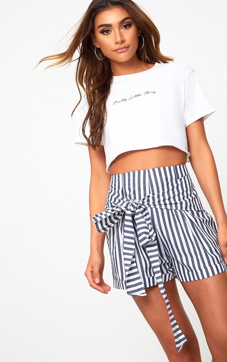 Navy Tie Waist Stripe Shorts 1