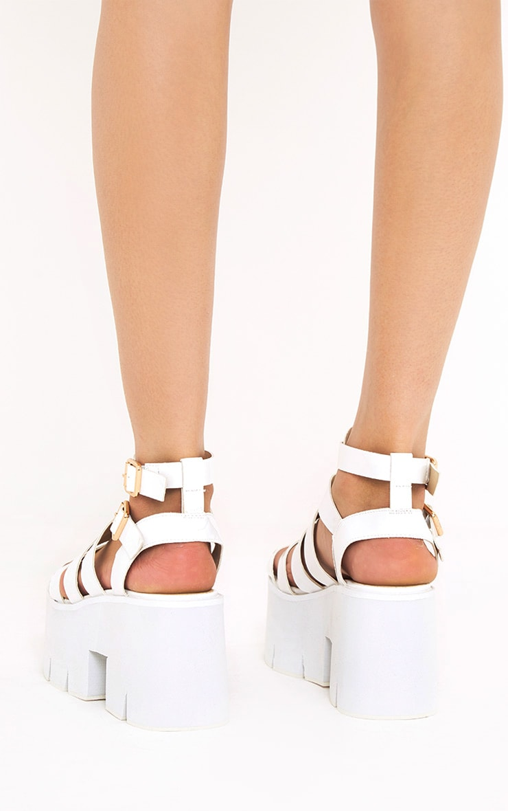 Jovana White Cleated Flatform Sandals 4