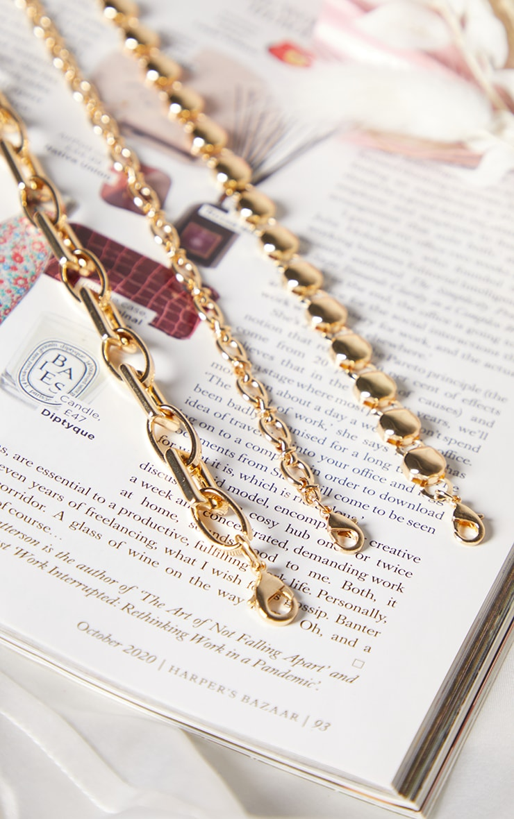 Gold Three Assorted Chain Bracelets 2