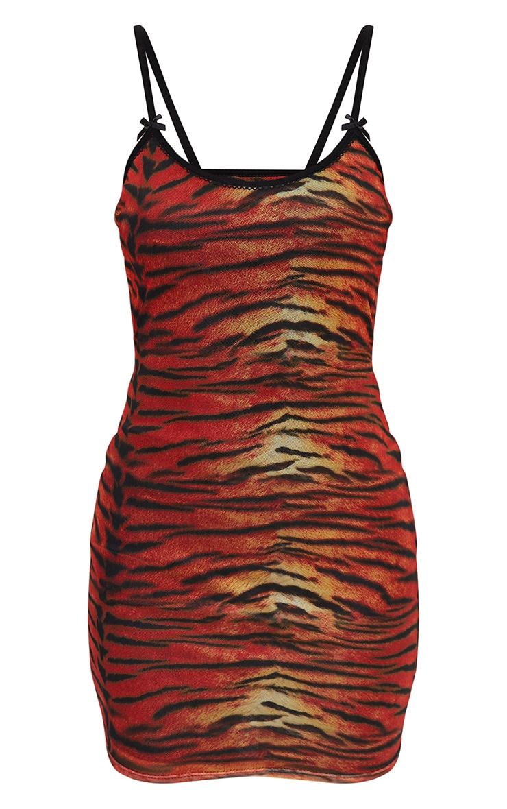Multi Tiger Print Strappy Bow Detail Printed Mesh Bodycon Dress 5