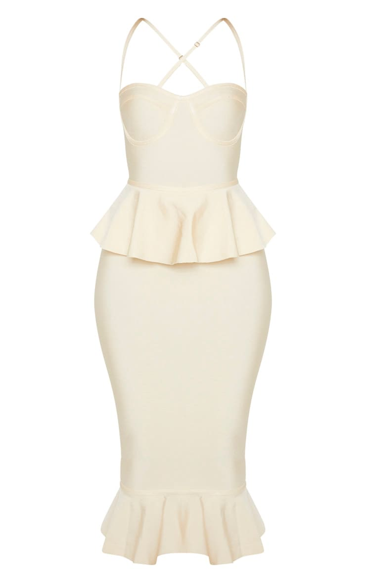 Cream Strappy Peplum Frill Hem Bandage Midi Dress 3