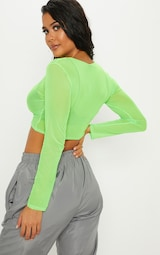 46c01840b5df32 Lime Ruched Front Mesh Long Sleeve Crop Top image 2