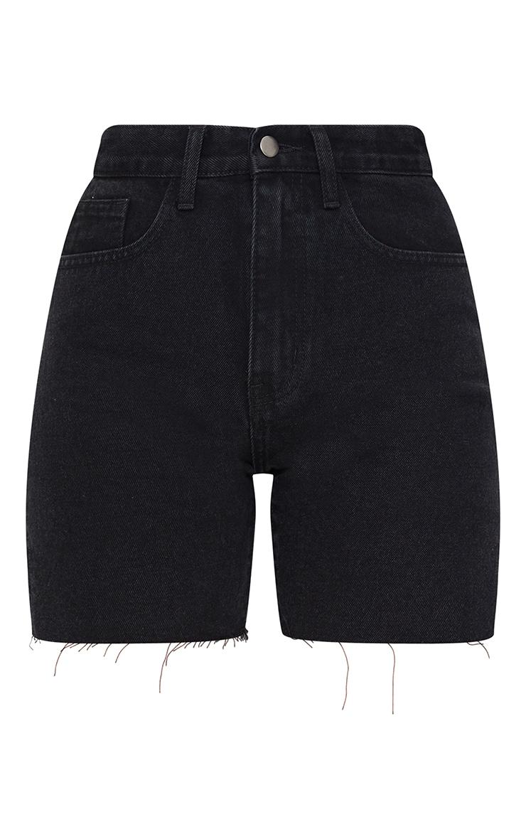 Petite Black Longline Split Hem Detail Shorts 6