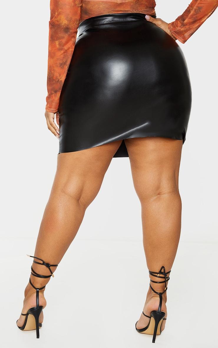 Plus Black Basic Faux Leather Mini Skirt 3