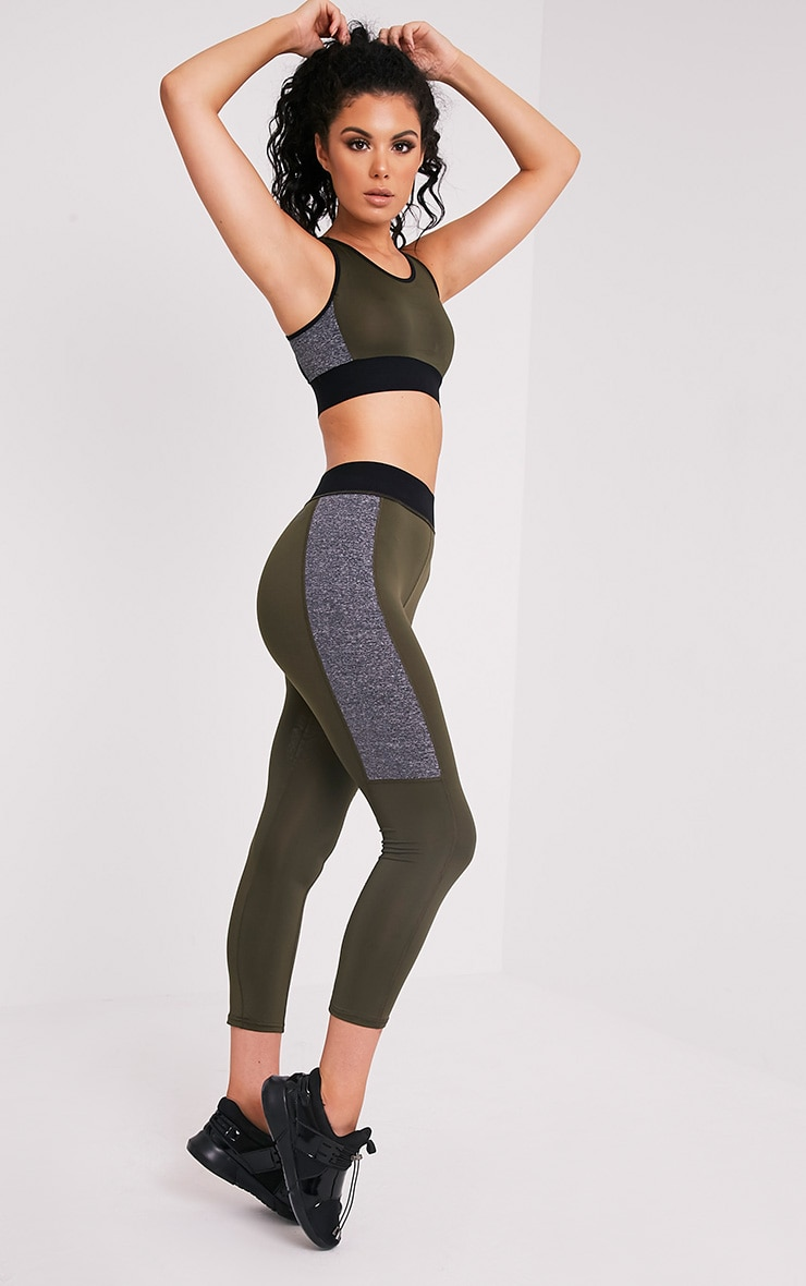 Sindie Khaki Panelled Gym Leggings 1