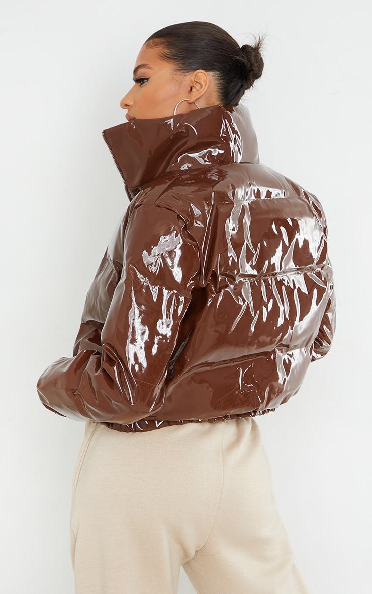 Chocolate Cropped Vinyl Puffer Jacket 2